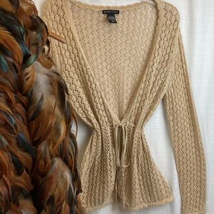 Cinch Waisted Crochet Cardigan with Shimmer